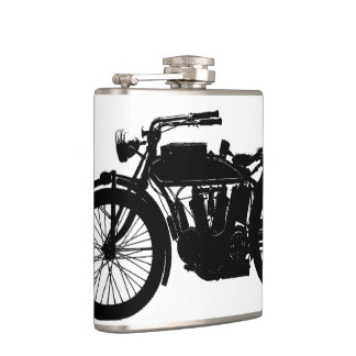 Vintage Motorcycle Silhouette in Rich Black Hip Flask