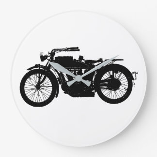 Vintage Motorcycle Silhouette in Rich Black Large Clock