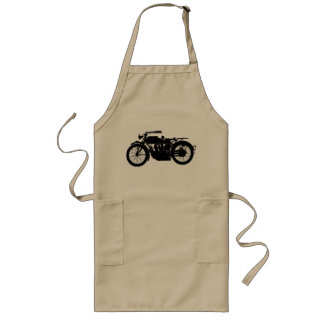 Vintage Motorcycle Silhouette in Rich Black Long Apron