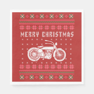 Vintage Motorcycle Ugly Christmas Sweater Disposable Napkins