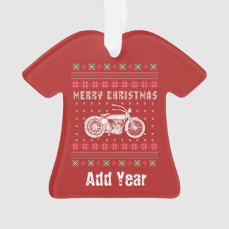 Vintage Motorcycle Ugly Christmas Sweater Ornament
