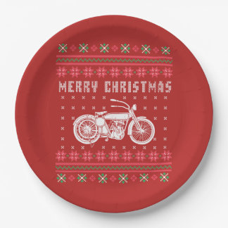 Vintage Motorcycle Ugly Christmas Sweater Paper Plate
