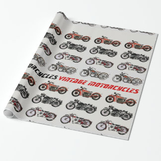 VINTAGE MOTORCYCLES red white grey black Wrapping Paper