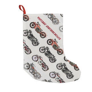 VINTAGE MOTORCYCLES SMALL CHRISTMAS STOCKING