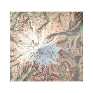 Vintage Mount Rainier Topographical Map Washington Canvas Print