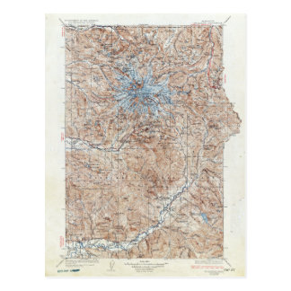 Vintage Mount Rainier Topographical Map Washington Postcard