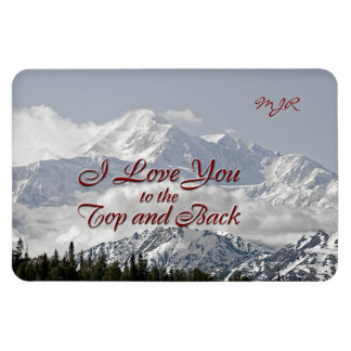 Vintage Mountains: I Love You to the Top and Back Rectangular Photo Magnet
