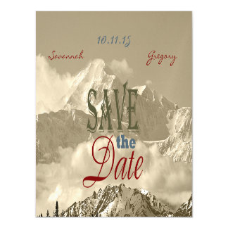 Vintage Mountains: Save the Date Personalize Magnetic Invitations