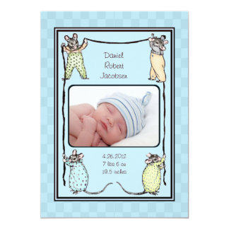 "Vintage Mouse Baby Boy Birth Announcement Photo 5"" X 7"" Invitation Card"
