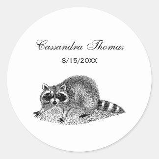 Vintage MSked Raccoon Classic Round Sticker