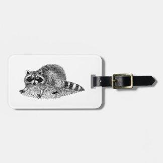 Vintage MSked Raccoon Luggage Tag