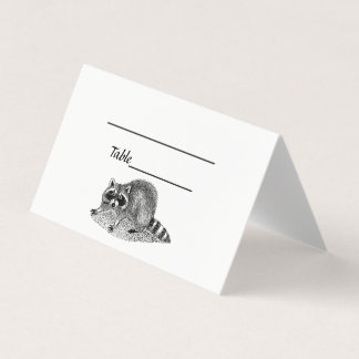 Vintage MSked Raccoon Place Card