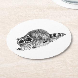 Vintage MSked Raccoon Round Paper Coaster