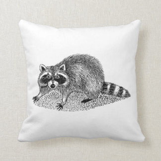 Vintage MSked Raccoon Throw Pillow