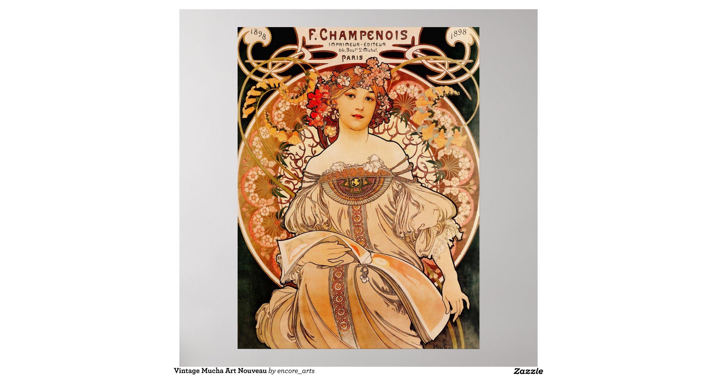 Vintage Mucha Art Nouveau Poster | Zazzle