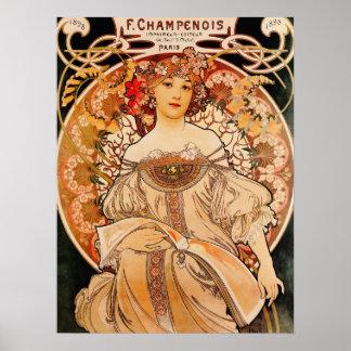 Vintage Mucha Art Nouveau Poster