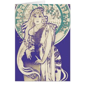Vintage Mucha Art Nouveau Theater Woman Bernhardt Card