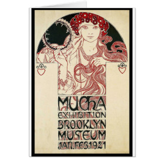 Vintage Mucha Exhibition Brooklyn Poster Card