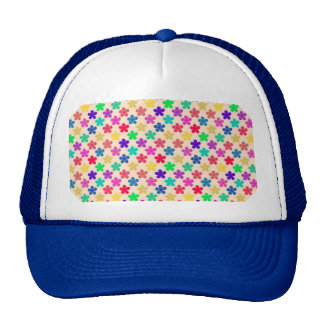 Vintage Multi Colored Floral Pattern Trucker Hat