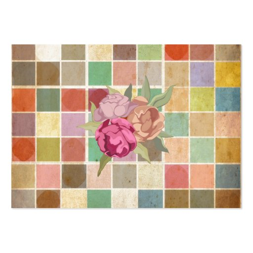 Vintage Multicolored Square Background Pattern Business Card Templates