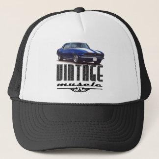 Vintage Muscle Blue Camaro Trucker Hat