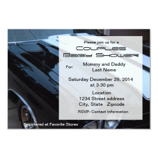 "Vintage Muscle Car Baby Shower Invitation 3.5"" X 5"" Invitation Card"