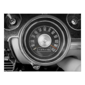 Vintage Muscle Car Speedometer Poster