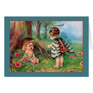 Vintage Mushroom Butterfly Children Note Card
