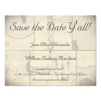 Vintage Music and Pop Art Guitar Save the Date Card