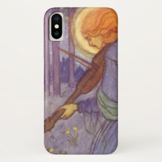 Vintage Music, Angel Playing a Violin in a Forest iPhone X Case