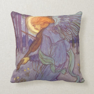 Vintage Music, Angel Playing a Violin in a Forest Throw Pillow