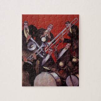 Vintage Music, Art Deco Musical Jazz Band Jamming Puzzle