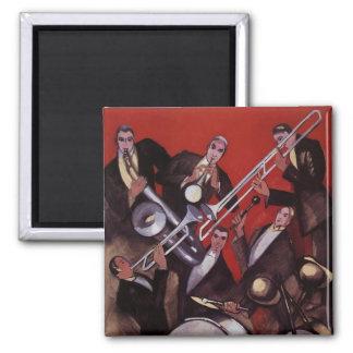 Vintage Music, Art Deco Musical Jazz Band Jamming Square Magnet