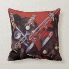 Vintage Music, Art Deco Musical Jazz Band Jamming Throw Pillow