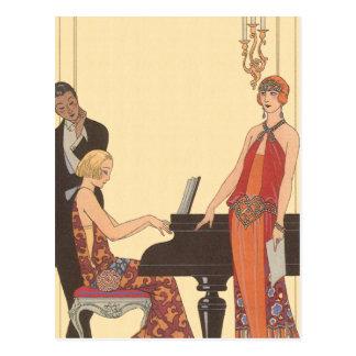 Vintage Music, Art Deco Pianist Musician Singer Postcard