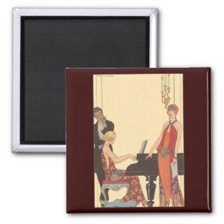 Vintage Music, Art Deco Pianist Musician Singer Square Magnet