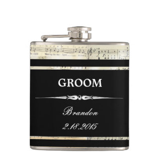 Vintage Music Black GROOM Wedding Flask