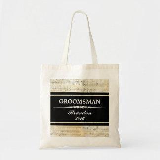 Vintage Music Black GROOMSMAN Wedding Tote Bag