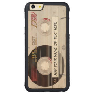 Vintage Music Cassette Tape Look Pattern Carved Maple iPhone 6 Plus Bumper Case