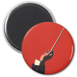 Vintage Music, Conductor's Hand Holding a Baton 2 Inch Round Magnet