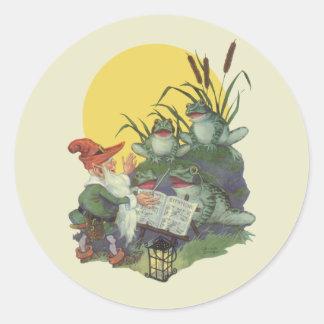 Vintage Music Magazine Cover Art, Etude Frog Choir Classic Round Sticker