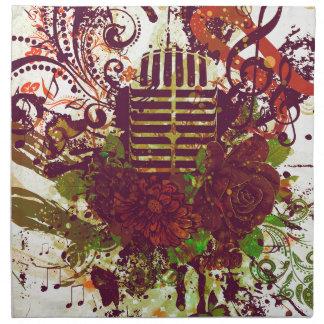Vintage Music Microphone Napkin