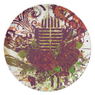 Vintage Music Microphone Plate