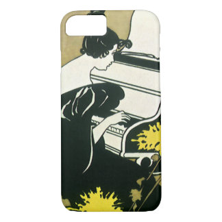 Vintage Music, Miss Traumerei Playing Piano, Reed Case-Mate iPhone Case