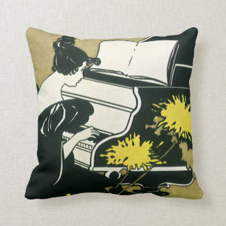 Vintage Music, Miss Traumerei Playing Piano, Reed Throw Pillow