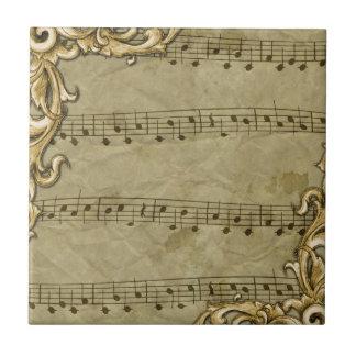 Vintage Music Notes Gold Frame Art Ceramic Tiles