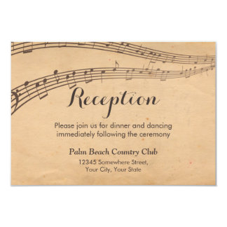 Vintage Music Notes Musical Wedding Reception Card