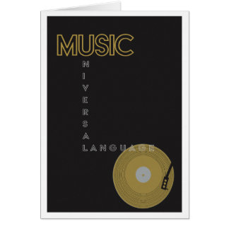 Vintage Music Poster Record Player Card
