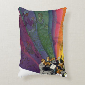 Vintage Music Rainbow, Victorian Couple Dancing Decorative Pillow