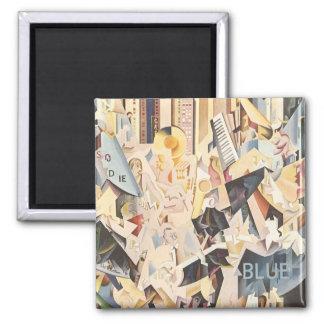 Vintage Music, Rhapsody in Blue Art Deco Jazz Square Magnet